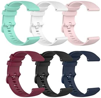 6-Pack Straps Compatible with Bands Compatible with Yamay Smart Watch ID205L/Umidigi Uwatch 3 Smartwatch Replacement Silicone Sport Bands for Women Kids