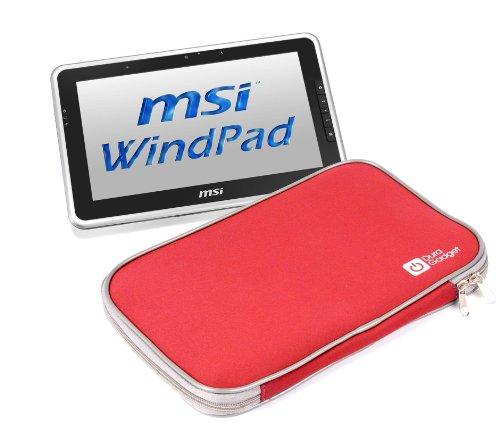 Red Neoprene Zip Sleeve For Easypix EasyPad 1370, EasyPad 970 & MSI Windpad, By DURAGADGET