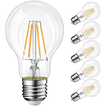 A19 LED Vintage LED Filament Bulb E26 Base,LVWIT Dimmable 8W (60W Equivalent),3000K Soft White 800 Lumens,Omnidirectional, UL-Listed, Pack of 6