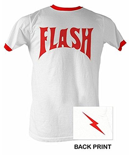 Flash Gordon Shirt - Flash Bolt Ringer Adult White/Red Tee T-Shirt (XL)