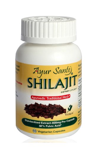 Shilajit-Extract 600mg Per Cap(50% Fulvic Acid-300mg*)-60 Veggie Caps by AyurSante'