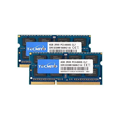 TECMIYO 8GB Kit (2x4GB) DDR3 1066MHz PC3-8500 PC3-8500S Non ECC Unbuffered 1.5V CL7 2RX8 Dual Rank 204 Pin SODIMM Laptop Notebook Computer Memory Ram Module