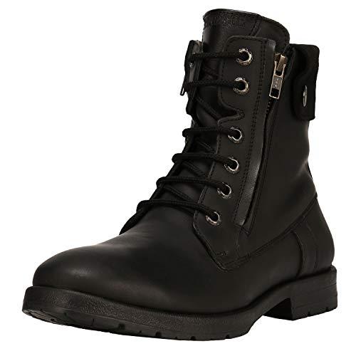Leather Lace Up Ankle Boots - Liberty Men's Genuine Leather Lace Up Closure Fashion Ankle Boots 1.5 Inch Heels,Black,10 D(M) US
