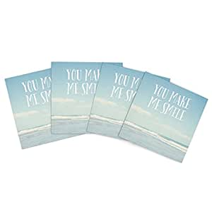 """Kess InHouse Susannah Tucker """"You Make Me Smile"""" Beach Sky Outdoor Place Mat, 15 by 15-Inch, Set of 4"""