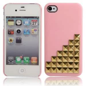 Cell Accessory Gold Ladder Style Protective Hard Back Case for iPhone 4/4S Pink