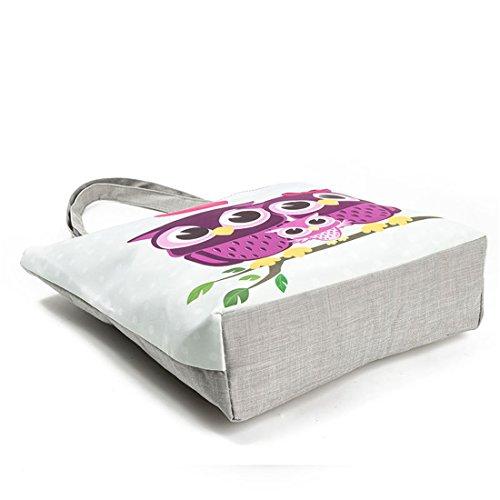 G Carino Amanti Print Civetta Tote Canvas A07 Shopping Spalla Famiglia Bag Femminili Oq5wx5FP