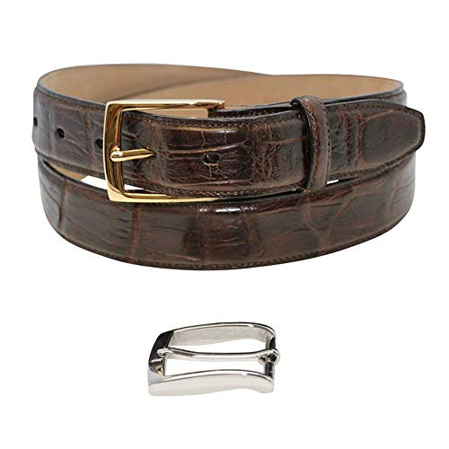 Size 40 Brown Genuine Millennium Alligator Belt - Gold and Silver Buckles - Factory Direct Price - 1 ¼ inch (32mm) Wide - Made in USA by Real Leather Creations FBA1193