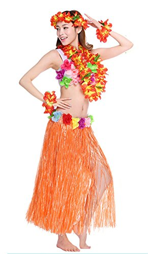 Tahitian Hula Costume (Fighting to Achieve Adult Hula Skirt with Garlands Set, 6pcs)