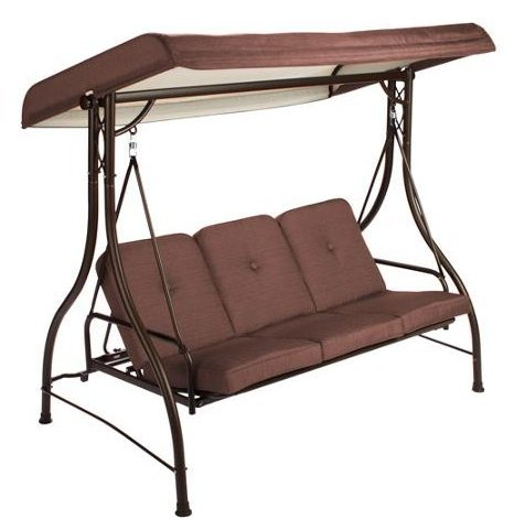 Mainstays Lawson Ridge Converting Outdoor Swing/hammock, Brown, Seats 3