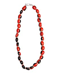 Strand Beaded Necklace for Women with Red & Black Natural Huayruro Seed 12mm Beads by Evelyn Brooks
