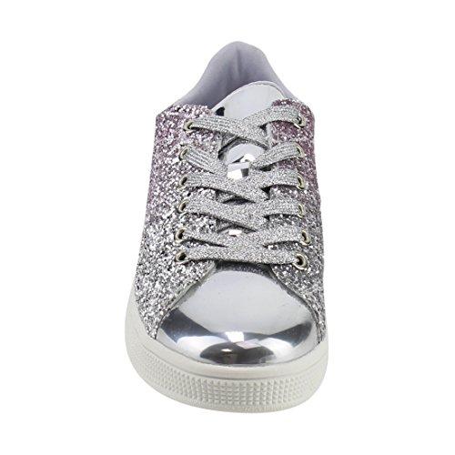 Per Sempre Collegano Le Donne Moda Leggero Scintillio Similpelle Metallizzata Trapuntato Allacciata Scarpa Stringata Elegante Sneaker Bassa (5.5, Argento Glitter-1)