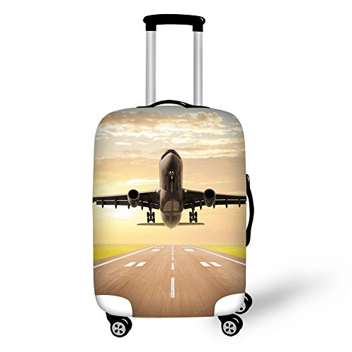 Travel Luggage Cover,3D Airplane Print Elastic Protector Fit 18-30
