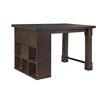 Superbe Magnussen Pine Hill Counter Height Storage Desk In Rustic Pine