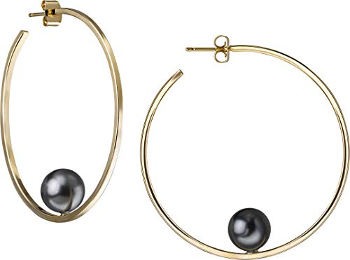 JANIS BY JANIS SAVITT Floating Pearl Hoop Earring Yellow Gold with Dark Grey Pearl