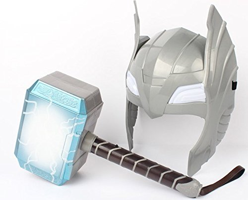 Thor hammer LED Glowing and Sounding Thor's Cosplay Costume thor 2 (Loki Helmet For Sale)
