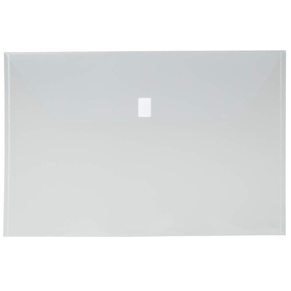 JAM PAPER Plastic Envelopes with Hook & Loop Closure - Jumbo Booklet - 12 x 18 - Clear - 12/Pack