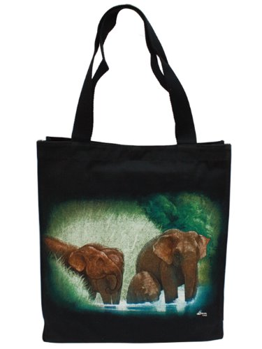 Nature Touch 100% Black Cotton Canvas Elephants Print Shopping Tote - Hours White Plains Mall