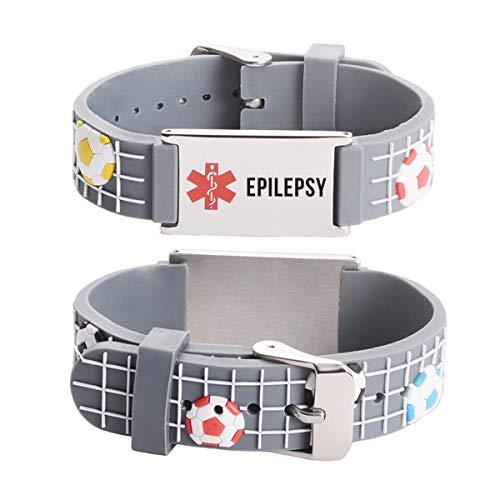 linnalove Cartoon Medical Alert id Epilepsy Bracelets for boy & Girls,Kids-Football (Medical Alerts Bracelet For Boys)