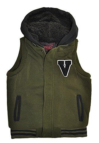 Yoki Big Boys Hooded Fleece Varsity Vest With Sherpa Lining (14-16, Olive)