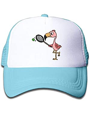 Pink Flamingo Playing Tennis On Children's Trucker Hat, Youth Toddler Mesh Hats Baseball Cap