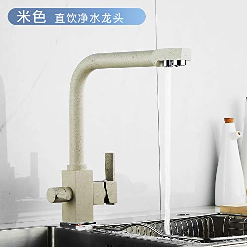 8817-5 Beige Quartet Copper Hot and Cold Water Kitchen Straight Drinking Faucet Black and White Rice gold Plating color Sink Water Purifier Faucet 8817-3 Plating