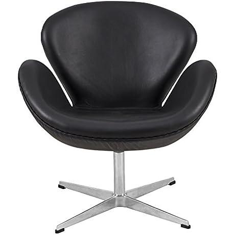 LeisureMod Arne Jacobsen Style Swan Chair In Black Leather