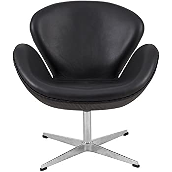 LeisureMod Arne Jacobsen Style Modern Swan Accent Chair In Black Leather