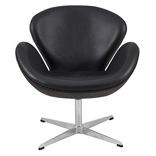 LeisureMod Swan Mid-Century Modern Living Room Accent Side Lounge Upholstered Armchair (Black Leather)
