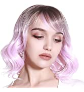 Short Pink Ombre Colored Curly Bob Wig with Bangs Synthetic Cheap Dark Root Wavy For Black White ...
