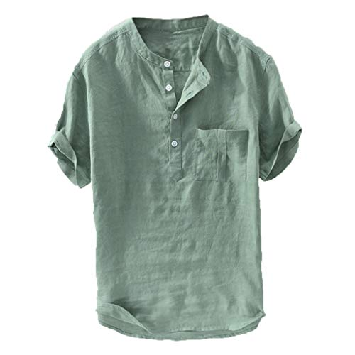 Eoeth Mandatory Men's Summer New Pure Cotton Hemp Button Short Sleeves Fashion Large Blouse Top Pullover Green