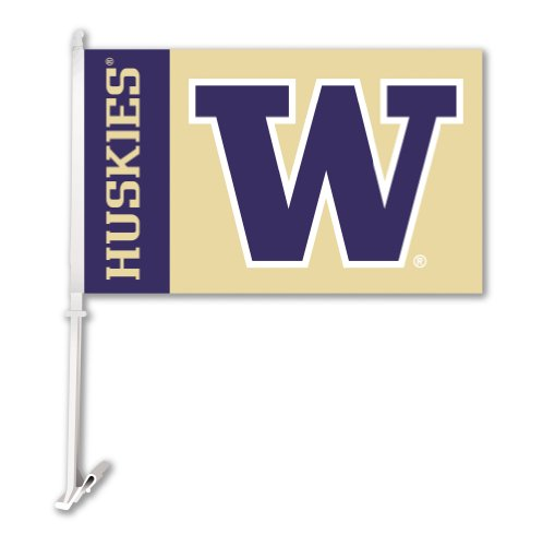 NCAA Washington Huskies Car Flag with Free Wall Bracket