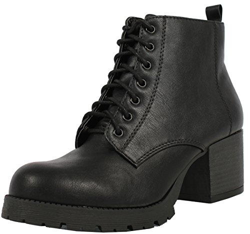 SODA Women's Nevitt Faux Leather Lace Up Chunky Heel Combat Style Boots, Black, 10 M US ()