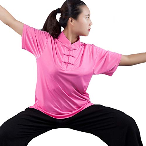 (ZHL&M Tai Chi Clothing Wing Chun Kung Fu Clothes Man's Retro Standing Collar Frog-Button Straight Fit T-Shirt Milk Silk Short Sleeve Tops, Solid Color,Pink,XXXL)