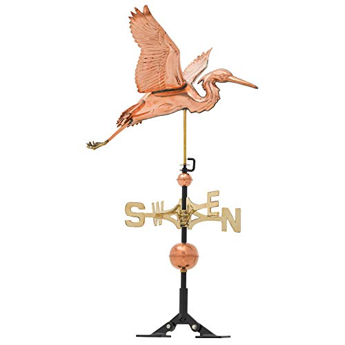 Whitehall Products Copper Heron Weathervane, Polished