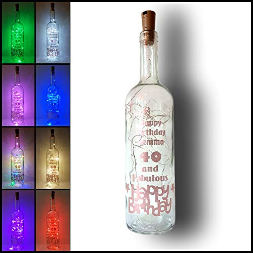 Mooseys Ltd Personalised Birthday Gift Light Up Wine Bottle Lamp, Earth Day, Bday, gift, Present 18th 21st 30th 40th…