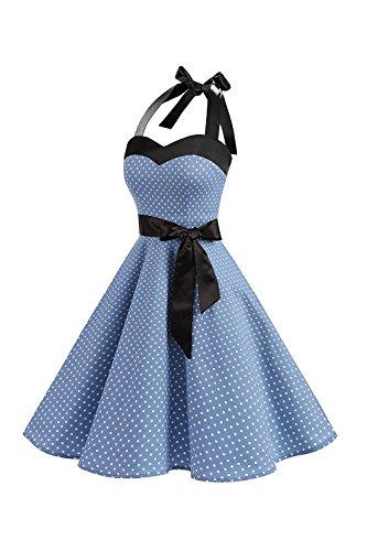 Swing Vestidos Claro De Azul Vintage Mujeres Dot Vestido 1950 Polka Cocktail Cabestro qPXz41SwT