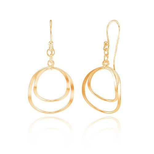 Rose Gold Flashed Sterling Silver Double Circle Swirl Lightweight Dangle Drop Earrings Double Open Circle Dangles