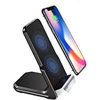Steanum QI Fast Wireless Charging Pad Stand 2-Coils for Samsung Galaxy S9/Note 8/S8/S7/S6 Edge+/Note 5, Standard Wireless Charger for Apple iPhone X, iPhone 8/8 Plus
