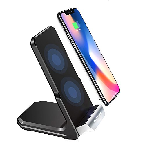 iPhone X Wireless Charger, Steanum QI Fast Wireless Charging Pad Stand 2-Coils for Samsung Galaxy S9/Note 8/S8/S7/S6 Edge+/Note 5, Standard Wireless Charger for Apple iPhone X, iPhone 8/8 Plus