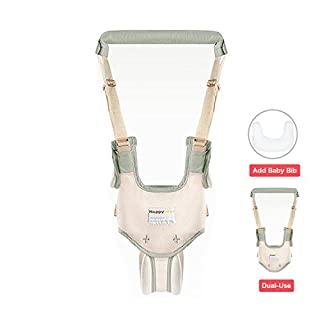 Dual Use Handheld Baby Walker,Safe Breathable Adjustable Baby Toddler Assistant Walking Harness for 8-15 Months Baby (Green)