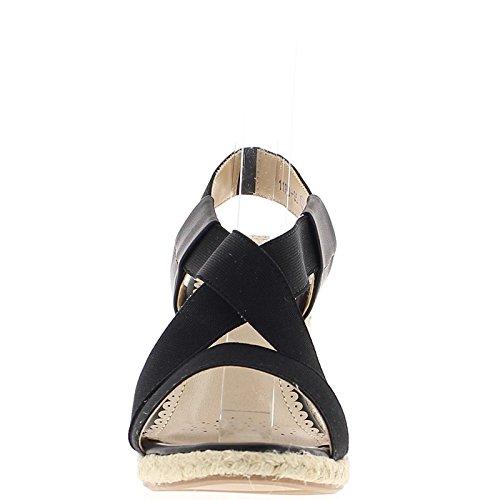 Zapatillas de cuña negro a los talones de los 9.5cm con bridas de ancho