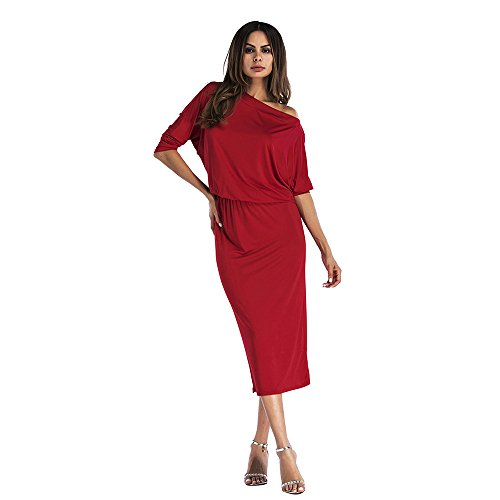 Party Half Women Red Bodycon Shoulder Dress AME Sexy Off Pencil Sleeve Midi Solid wq8fd8Pp
