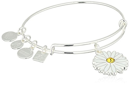 Alex and Ani Charity By Design, Daisy Shiny Silver Bangle Bracelet Design Childrens Bangle