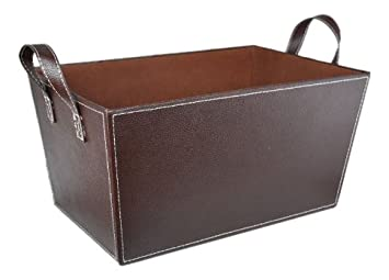 Exceptionnel Amazon.com: The Lucky Clover Trading Faux Leather Storage Basket, Brown:  Home U0026 Kitchen
