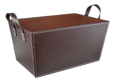 The Lucky Clover Trading Faux Leather Storage Basket, Brown