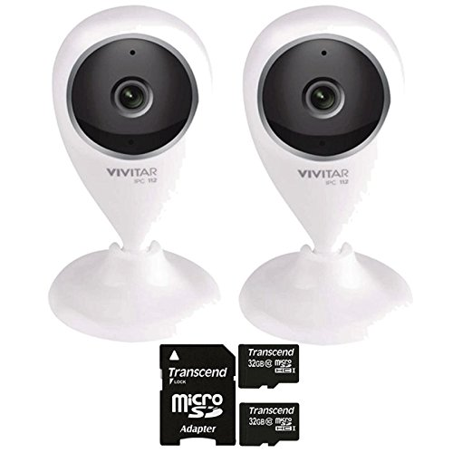 Two Vivitar IPC-112 Smart Home Capture Cameras with Two 32GB MicroSD Memory Cards by Teds