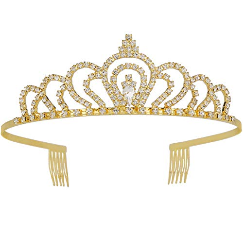 Metal Royal Crown with Side Combs for Wedding Prom Bridal Crystal Headband Tiara Hair Jewelry