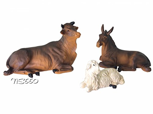 Animal Nativity Set Cow,donkey &Lamb (Set of 3 pcs)New Christmas Nativity Figurine ()