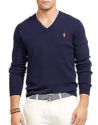 Polo Ralph Lauren Men\'s Pima V-Neck Sweater, M, Hunter Navy