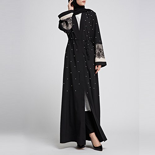 Open Comfortable Black Ladies Sleeve with Zhuhaitf Maxi Kimono Muslims Cardigan Belted Long Dresses Lace Style Abaya pqtpZ5n